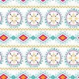 Bezszwowego plemiennego etnicznego deseniowego azteka abstrakcjonistycznego tła Meksykańska horyzontalna ornamentacyjna tekstura  Obrazy Royalty Free