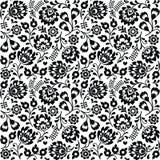 Bezszwowego Polskiego ludowej sztuki czerni kwiecisty wzór - wzory lowickie, wycinanka Zdjęcie Royalty Free
