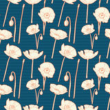 Bezszwowego rocznika błękitny kwiecisty wzór z maczkiem Fotografia Stock