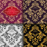 Bezszwowego rocznika kwiecisty ornament Wschodni barwioni heraldyczni wzory Złoci liście i leluje Azjata Styl royalty ilustracja