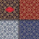 Bezszwowego rocznika kwiecisty ornament Wschodni barwioni heraldyczni wzory Złoci liście i leluje Azjata Styl ilustracji