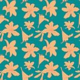 Bezszwowego rocznika kwiecisty wzór z pomarańczową lelują Zdjęcie Royalty Free