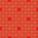 Bezszwowego rocznika wieloboka geometrii czeka wzoru Chiński nadokienny złoty tło Zdjęcia Royalty Free