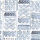 Bezszwowego watercolour etniczny ozdobny błękit na bielu Obrazy Royalty Free