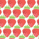Bezszwowego wektoru wzoru czerwone truskawki na białym tle Rocznik inspirował truskawkowego owocowego projekt dla tkaniny, papier royalty ilustracja