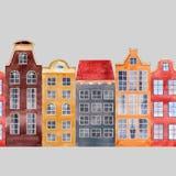 Bezszwowego wektoru wzoru miasta starzy europejscy domy Fotografia Royalty Free