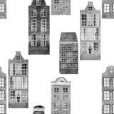 Bezszwowego wektoru wzoru miasta starzy europejscy domy Fotografia Stock