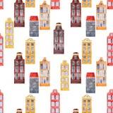 Bezszwowego wektoru wzoru miasta starzy europejscy domy Zdjęcia Royalty Free