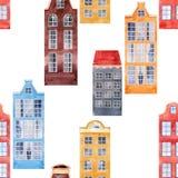 Bezszwowego wektoru wzoru miasta starzy europejscy domy Zdjęcie Stock