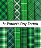 12 Bezszwowego wzoru Zielenieją St Patrick ` s dnia szkocką kratę Obrazy Stock