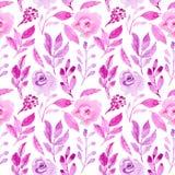 Bezszwowej deseniowej akwareli kwiecista różana purpurowa ilustracja royalty ilustracja