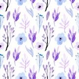 Bezszwowej deseniowej akwareli kwiecisty miękki błękitny, purpurowy i ilustracja wektor