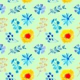Bezszwowej deseniowej akwareli tła kwiecista błękitna ilustracja ilustracji