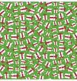 Bezszwowej Jaskrawej zabawy zimy Bożenarodzeniowy wzór z prezentów pudełkami wewnątrz Obrazy Royalty Free