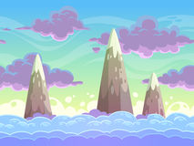 Bezszwowej kreskówki horyzontalny cloudscape ilustracji