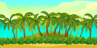 Bezszwowej kreskówki tropikalny krajobraz, bez końca tło dla gry Zdjęcie Stock