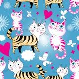 Bezszwowej kreskówki wektoru śmieszny wzór koty w miłości ilustracja wektor