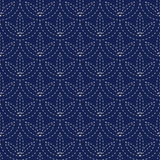 Bezszwowej porcelany indygowego błękita i bielu rocznika sashiko japoński kimono deseniuje wektor Obraz Stock