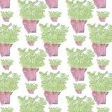 Bezszwowej powtórki ręki wektorowy Abstrakcjonistyczny remis i akwarela garnka kwiatu tapety wzór Fotografia Stock
