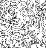 Bezszwowi abstrakcjonistyczni pociągany ręcznie wzorów kwiaty. Zdjęcie Stock
