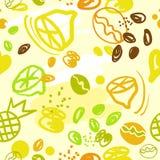 Bezszwowi abstrakta wzoru cytryny anans kawowi royalty ilustracja