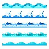 Bezszwowi błękitne wody falowego wektoru zespoły ustawiają dla stopek, wzorów i tekstur, ilustracji