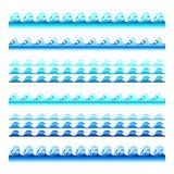 Bezszwowi błękitne wody falowego wektoru zespoły ustawiają dla stopek, wzorów i tekstur, royalty ilustracja