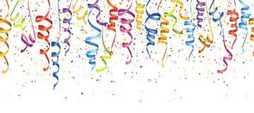 bezszwowi barwioni confetti i streamers ilustracji