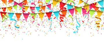 bezszwowi barwioni confetti, streamers i girlandy tło, ilustracja wektor