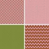 Bezszwowi Bożenarodzeniowi szewronów wzory w zieleni i rewolucjonistce Obrazy Stock
