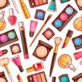 Bezszwowi dekoracyjni kosmetyki - 4 Obrazy Royalty Free