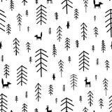 Bezszwowi deseniowi czarny i biały Jedlinowi drzewa Zdjęcia Royalty Free