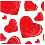 Bezszwowi deseniowi czerwoni serca na bielu zaopatrują wektorową ilustrację dla twój projekta Zdjęcia Stock