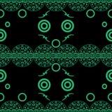 Bezszwowi deseniowi delikatni openwork okręgi zielenieją na czerni ilustracji