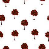 Bezszwowi deseniowi duzi drzewa z czerwonymi różami, wektor eps 10 ilustracji