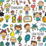 Bezszwowi deseniowi dzieciaki rysuje dziecinów dzieci sztuki Szkolną Szczęśliwą ilustrację dla dzieciak pepiniery Preschool dziec ilustracji