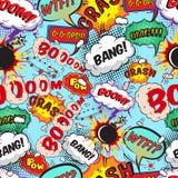 Bezszwowi deseniowi komiczni mowa bąble Fotografia Royalty Free