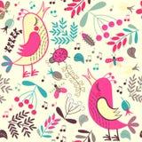 Bezszwowi deseniowi kreskówka ptaki, rośliny i Zdjęcia Stock