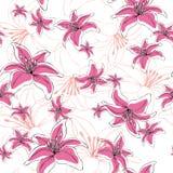 Bezszwowi deseniowi leluja kwiaty Obrazy Royalty Free