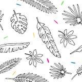 Bezszwowi deseniowi liście drzewko palmowe royalty ilustracja