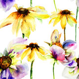 Bezszwowi deseniowi Piękni kwiaty Obraz Royalty Free