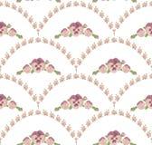 Bezszwowi deseniowi piękni pansies kwitną, biały tło, menchia kwiecisty ornament Royalty Ilustracja