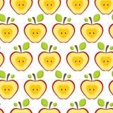 Bezszwowi deseniowi przyrodni czerwoni jabłka Owocowy tło dla druku Zdjęcia Stock