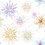 Bezszwowi deseniowi różni fajerwerków wybuchy Wektorowy wakacyjny fajerwerk Dla świętowania, zwycięzca, zwycięstwo plakat ilustracji