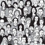 Bezszwowi deseniowi unrecognizable ludzie twarzy w tłumu Zdjęcia Royalty Free
