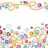 Bezszwowi horyzontalni gemstones i łańcuchu wzór Zdjęcia Stock
