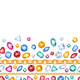 Bezszwowi horyzontalni gemstones i łańcuchu wzór Obrazy Stock