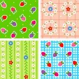bezszwowi jagoda kwiaty ilustracji