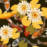 Bezszwowi karpie i lotos royalty ilustracja