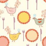 bezszwowi kulinarni deseniowi talerze ilustracji